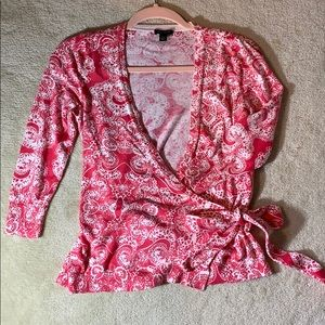 Ann Taylor 3/4 Sleeve Wrap Cardigan Pink and White